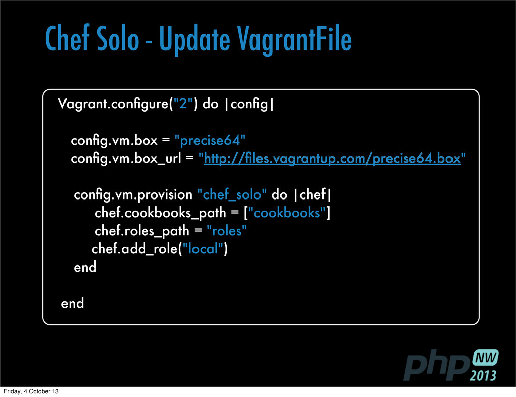 "show a role and Vagrant.configure(""2"") do 