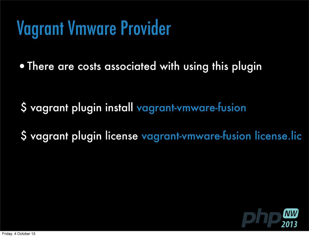 Text $ vagrant plugin install vagrant-vmware-fu...