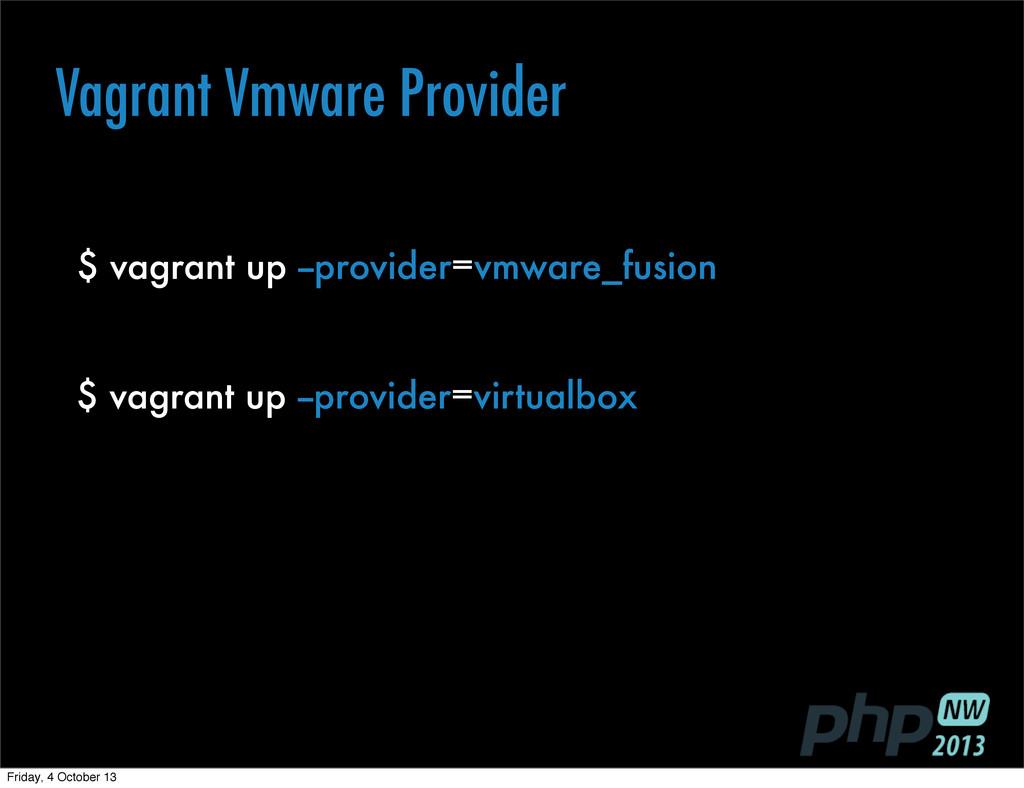 $ vagrant up --provider=vmware_fusion $ vagrant...