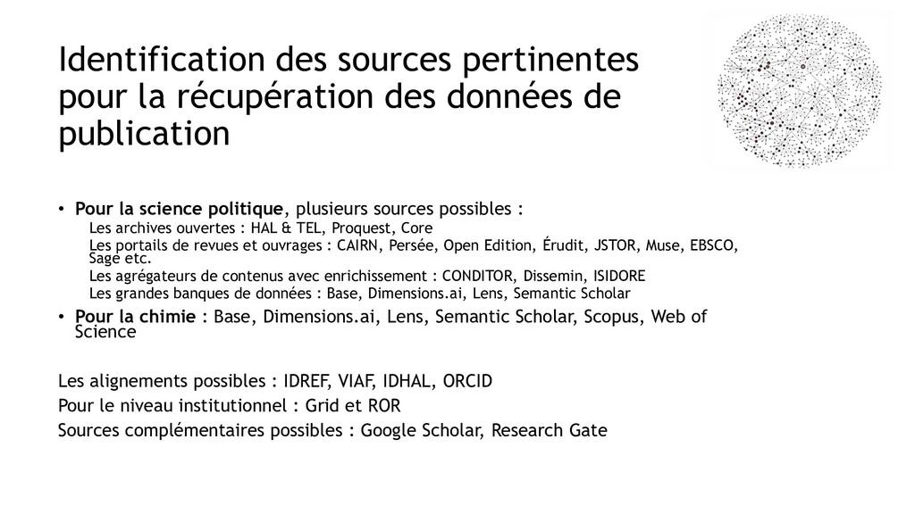 Identification des sources pertinentes pour la ...