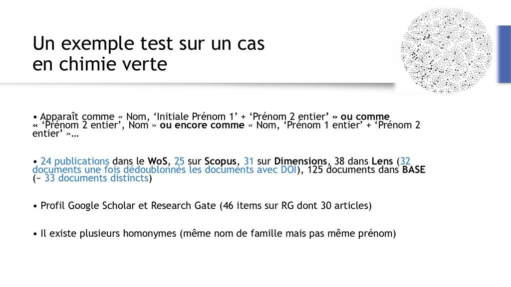 Un exemple test sur un cas en chimie verte • Ap...