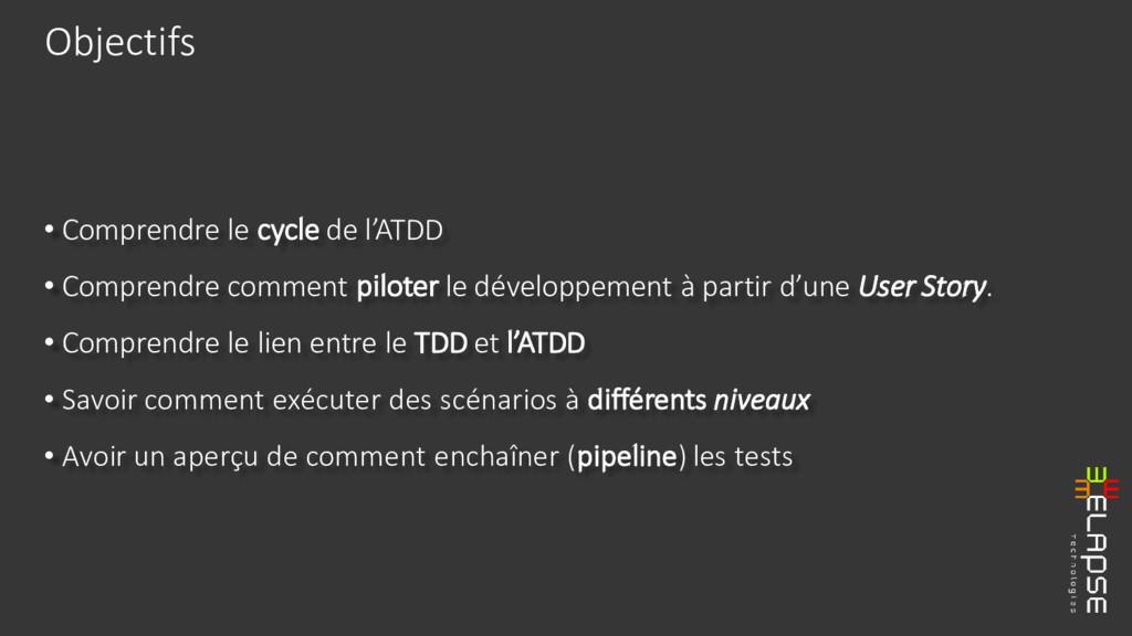 • Comprendre le cycle de l'ATDD • Comprendre co...