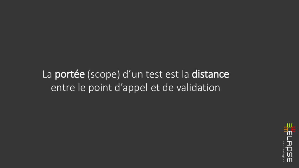 La portée (scope) d'un test est la distance ent...
