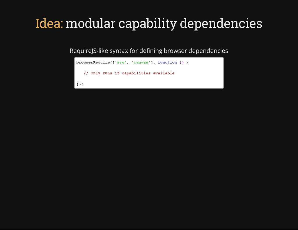 Idea: modular capability dependencies RequireJS...