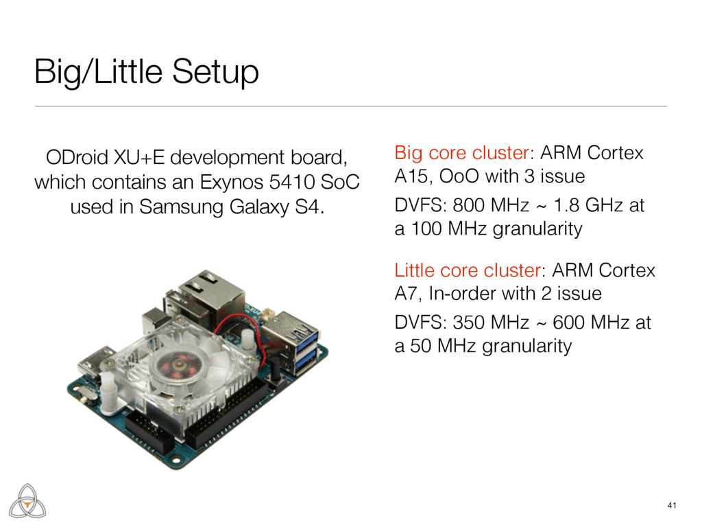 Big/Little Setup 41 Little core cluster: ARM Co...