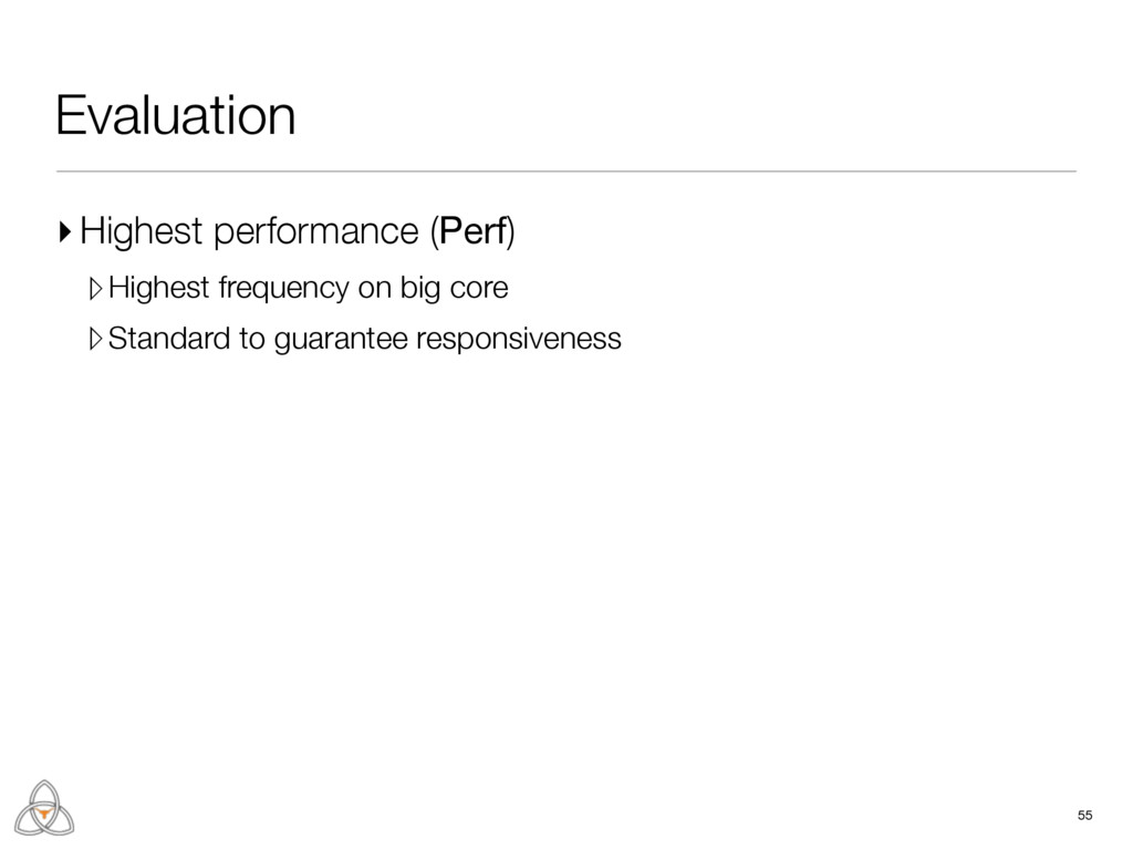 55 Evaluation ▸ Highest performance (Perf) ▹Hig...