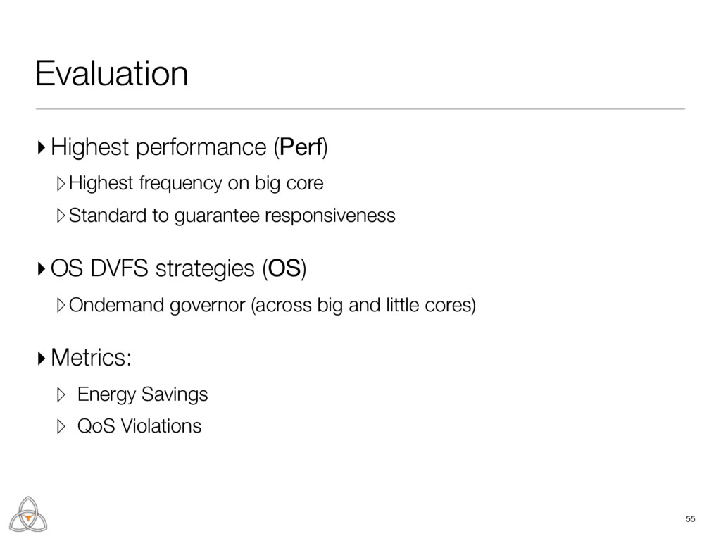 55 Evaluation ▸ Highest performance (Perf) ▹Hig...