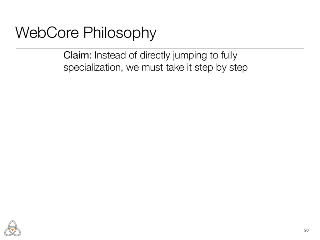 WebCore Philosophy 20 Claim: Instead of directl...