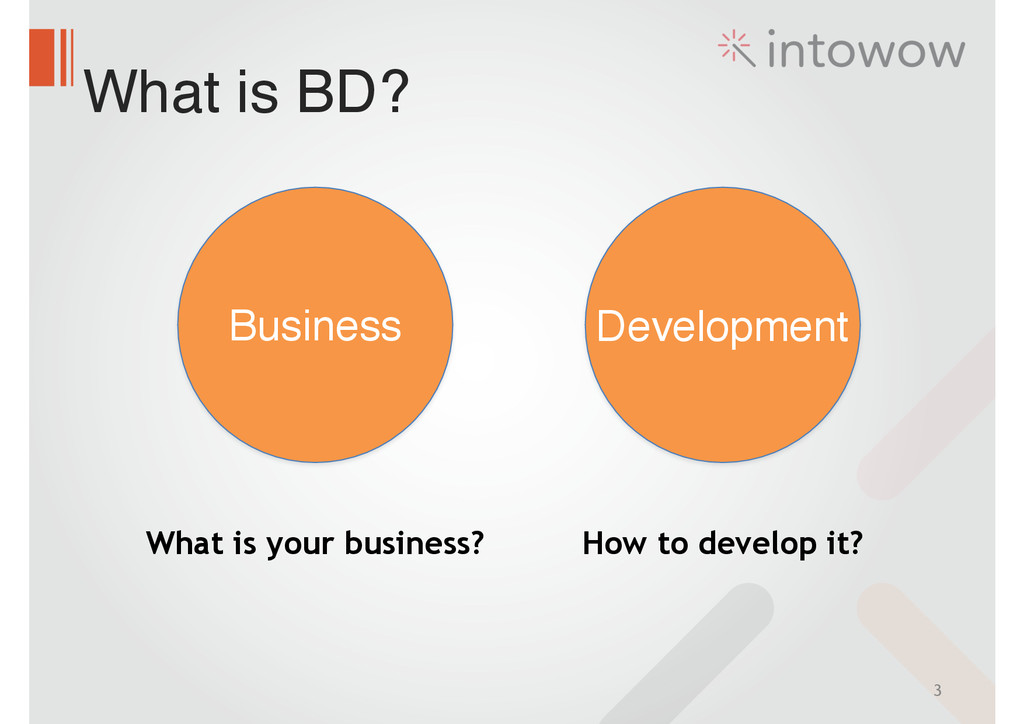What is BD? 3 Business Development What is your...