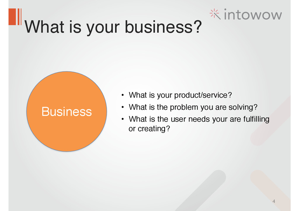 What is your business? 4 Business • What is you...