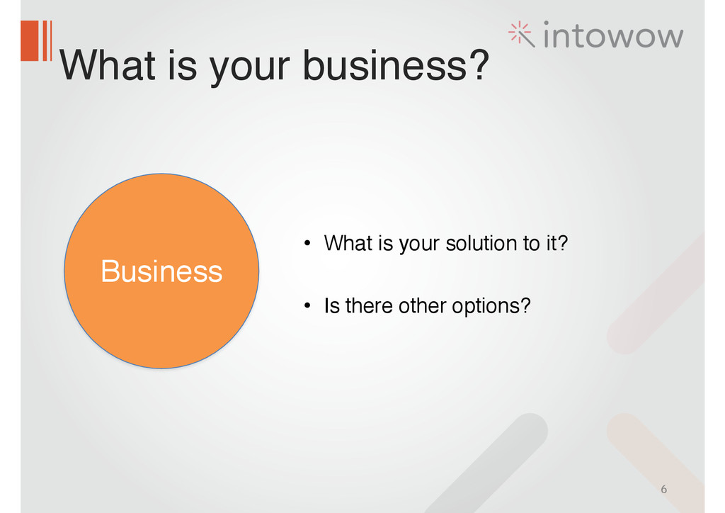 What is your business? 6 Business • What is you...