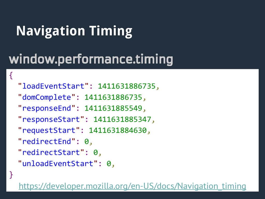 "Navigation Timing window.performance.timing { ""..."