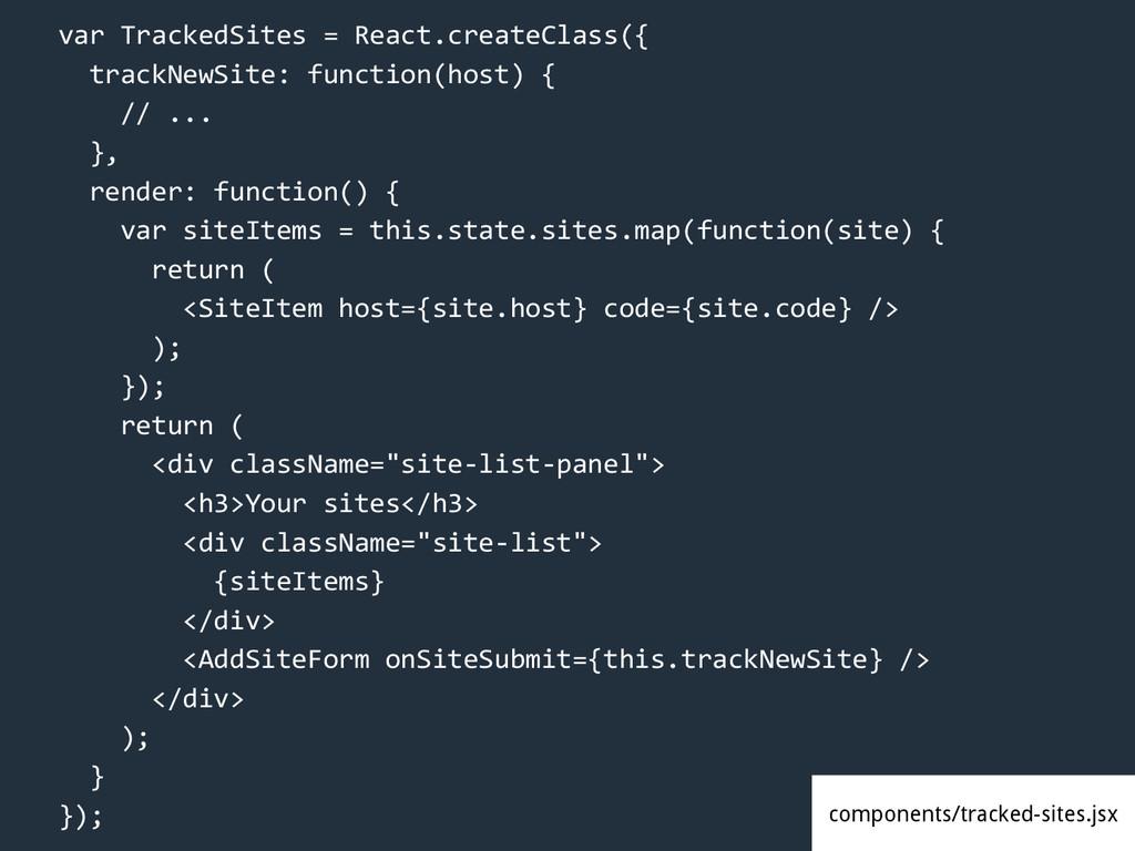 var TrackedSites = React.createClass({ trackNew...