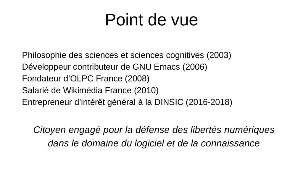 Point de vue Philosophie des sciences et scienc...