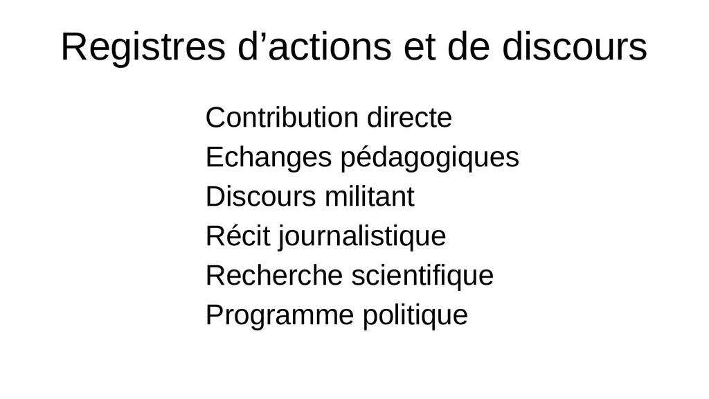 Registres d'actions et de discours Contribution...