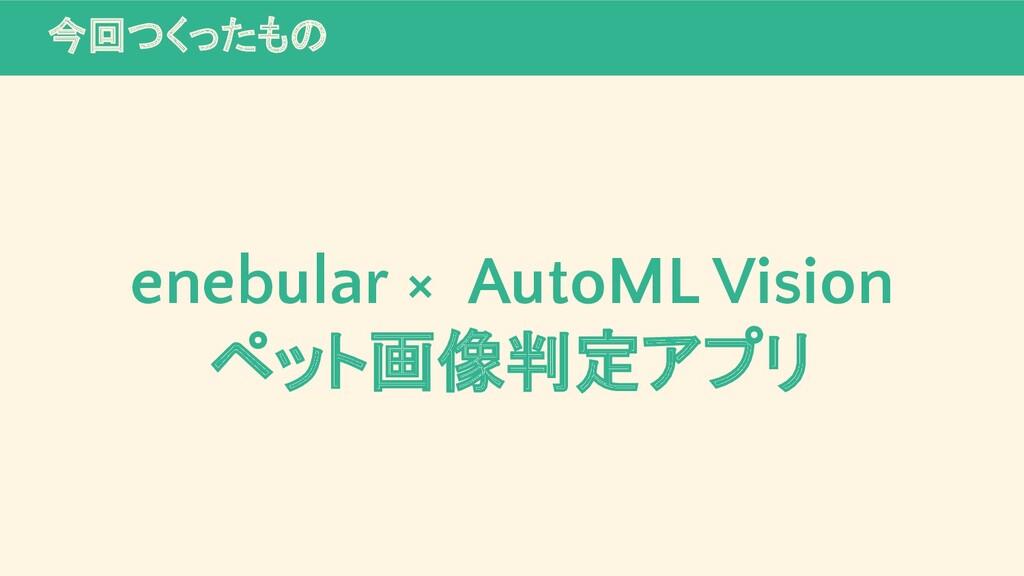 今回つくったもの enebular × AutoML Vision ペット画像判定アプリ