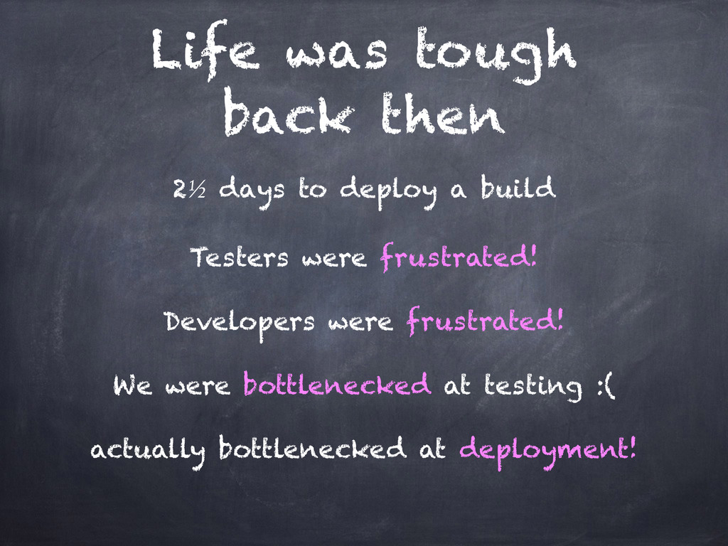 Life was tough back then 2½ days to deploy a bu...
