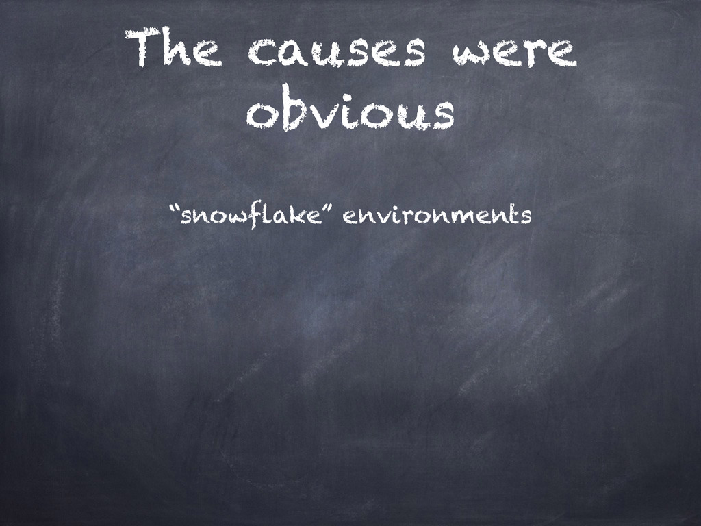 """The causes were obvious """"snowflake"""" environments"""