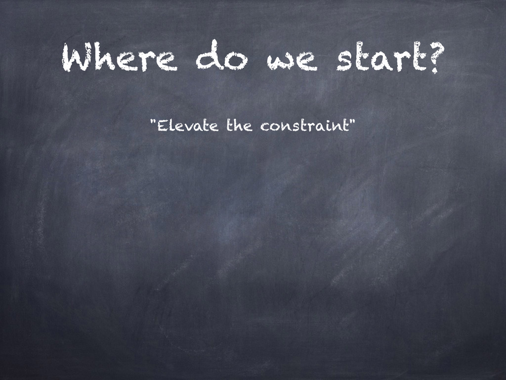 """Where do we start? """"Elevate the constraint"""""""