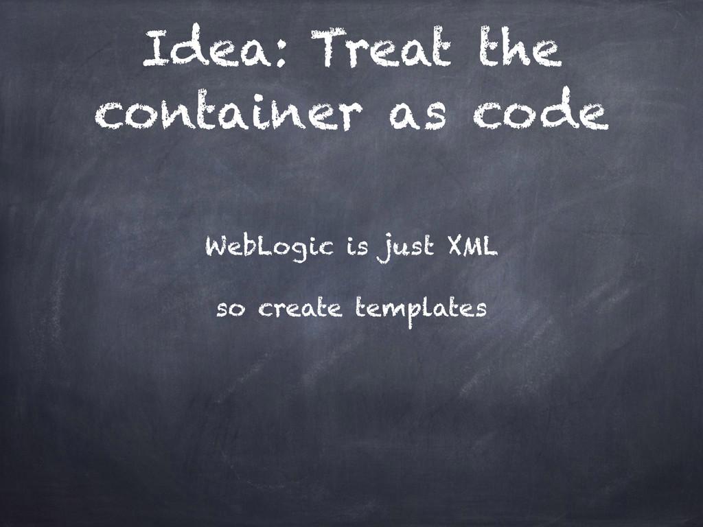 Idea: Treat the container as code WebLogic is j...