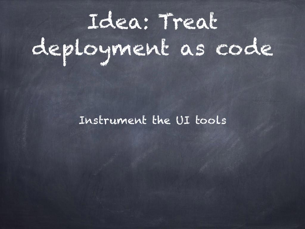 Idea: Treat deployment as code Instrument the U...