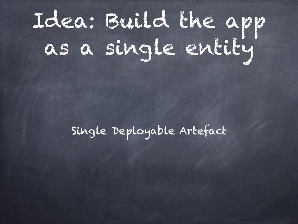 Idea: Build the app as a single entity Single D...
