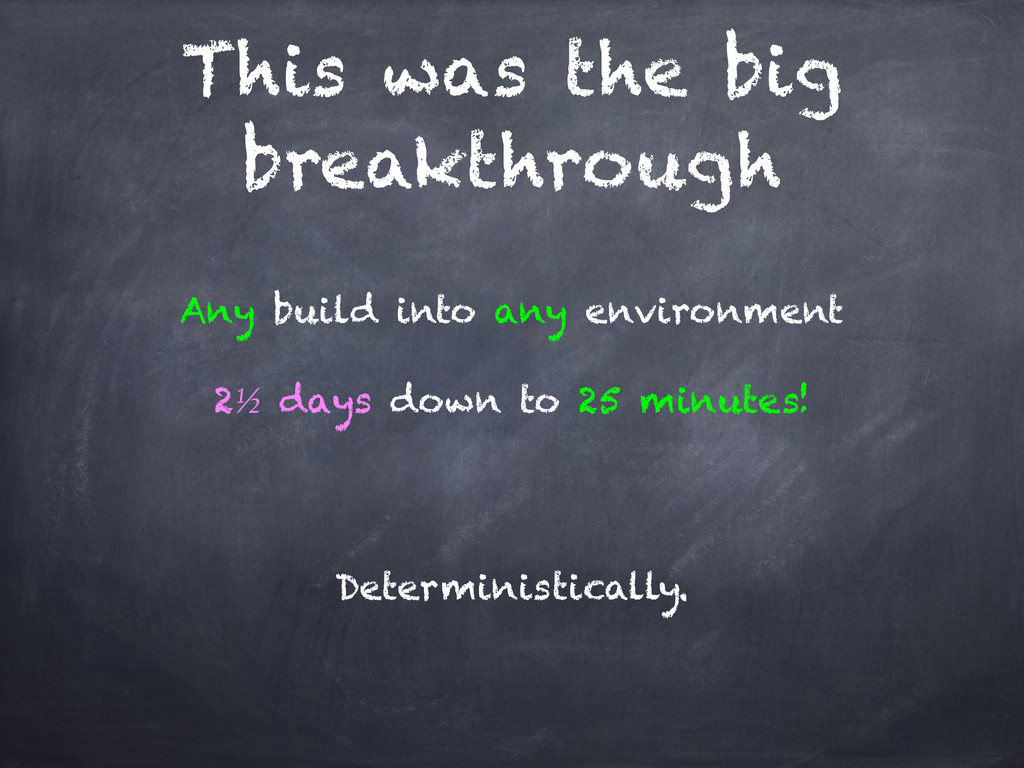 This was the big breakthrough Any build into an...