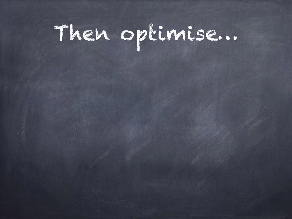 Then optimise…