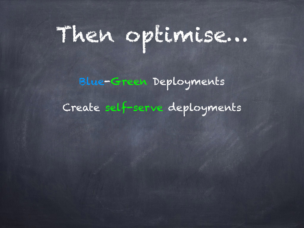 Then optimise… Blue-Green Deployments Create se...