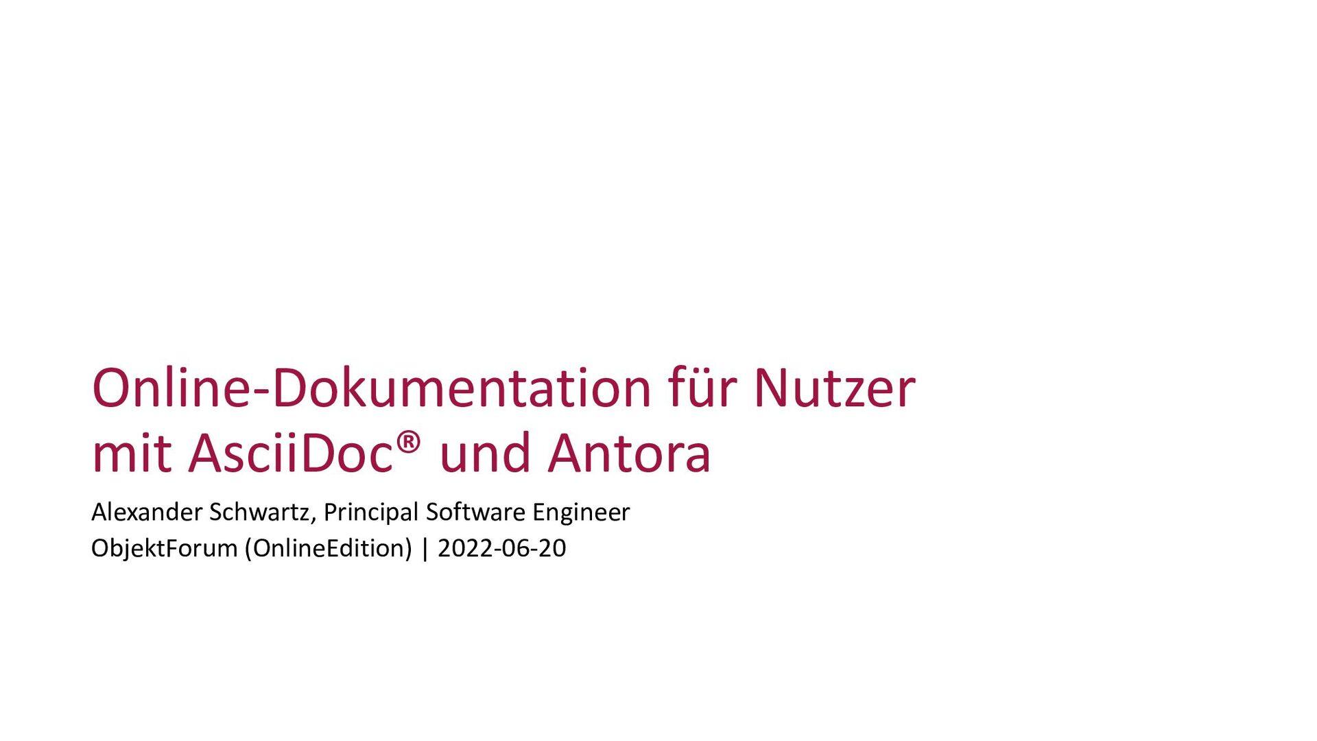 Online-Dokumentation für Nutzer mit AsciiDoc un...