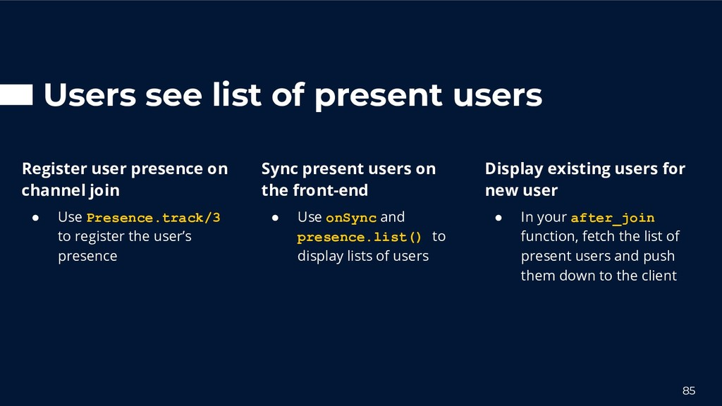 Users see list of present users 85 Sync present...