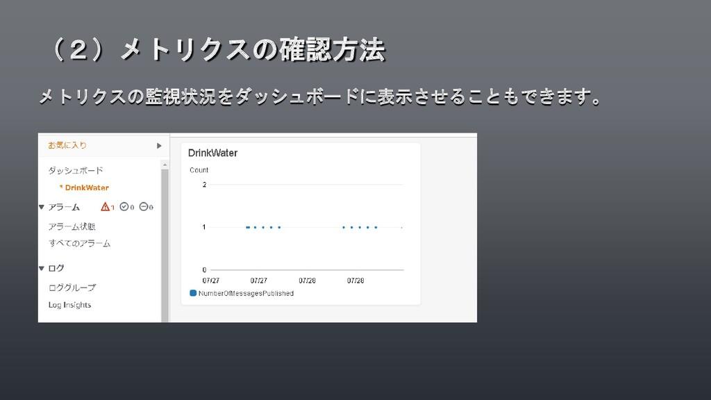 メトリクスの監視状況をダッシュボードに表示させることもできます。 (2)メトリクスの確認方法