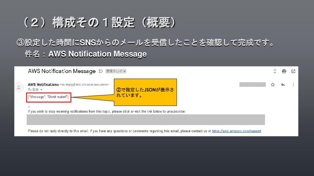 ③設定した時間にSNSからのメールを受信したことを確認して完成です。 件名:AWS Notif...