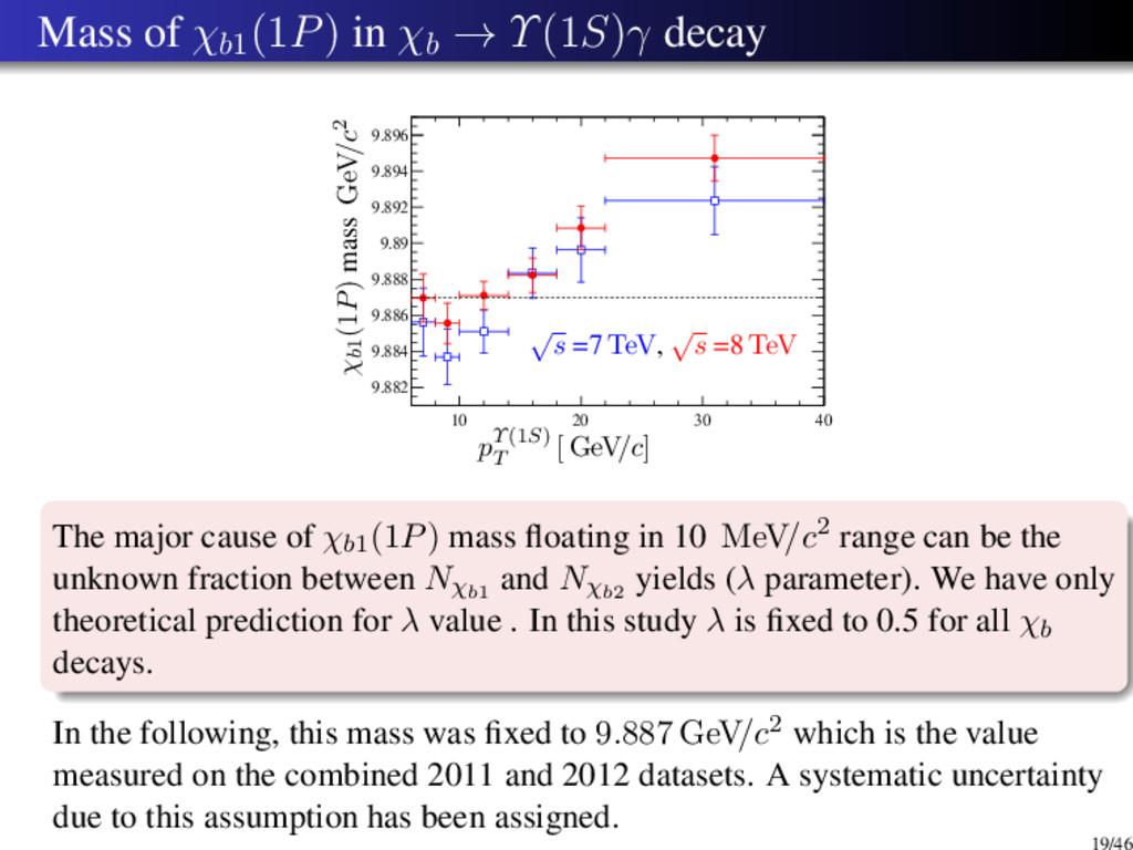 Mass of χb1 (1P) in χb → Υ(1S)γ decay 10 20 30 ...