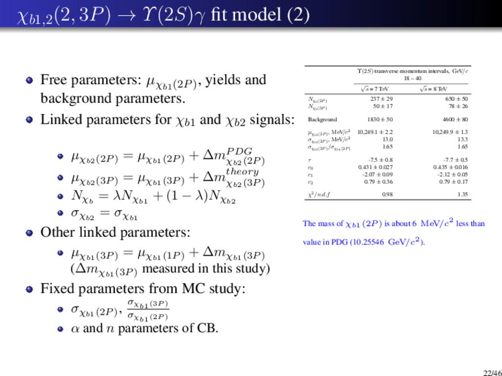 χb1,2 (2, 3P) → Υ(2S)γ fit model (2) Free parame...