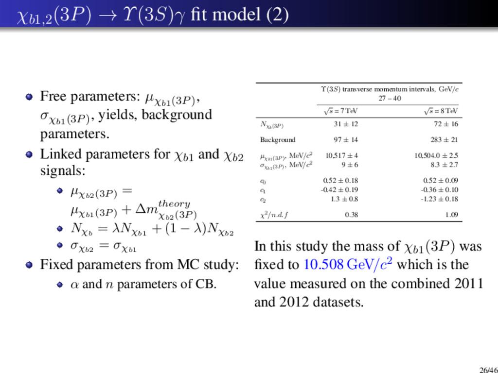χb1,2 (3P) → Υ(3S)γ fit model (2) Free parameter...