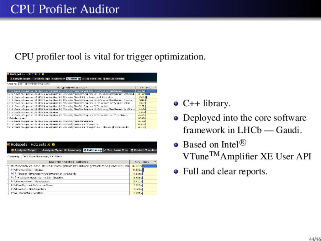 CPU Profiler Auditor CPU profiler tool is vital f...