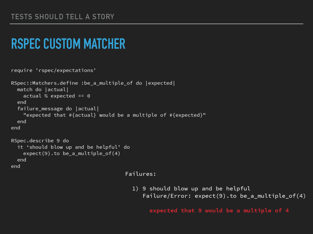 TESTS SHOULD TELL A STORY RSPEC CUSTOM MATCHER ...