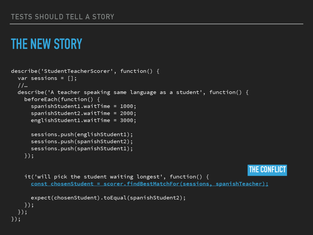 TESTS SHOULD TELL A STORY THE NEW STORY describ...