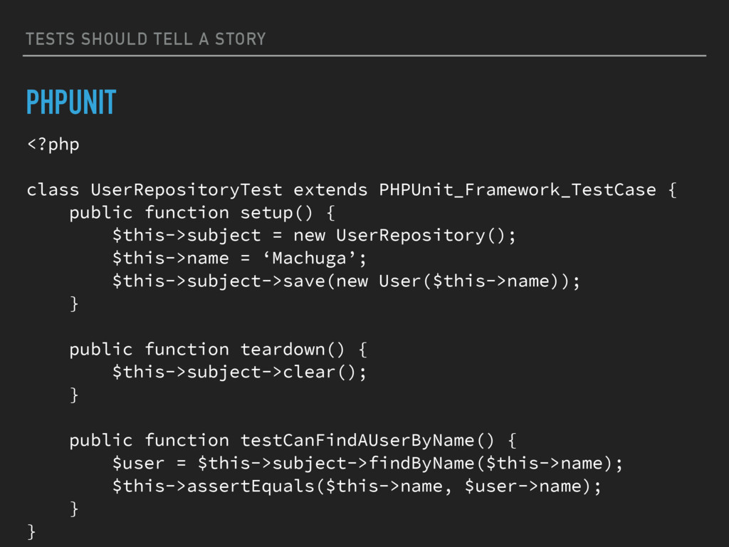 TESTS SHOULD TELL A STORY PHPUNIT <?php class U...