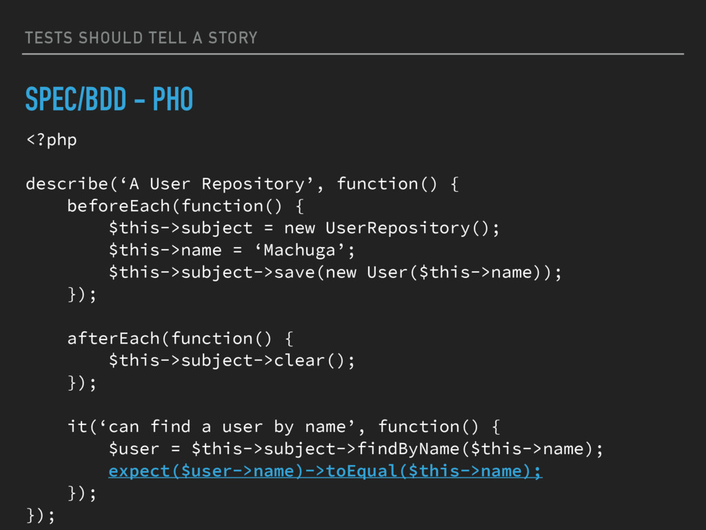 TESTS SHOULD TELL A STORY SPEC/BDD - PHO <?php ...