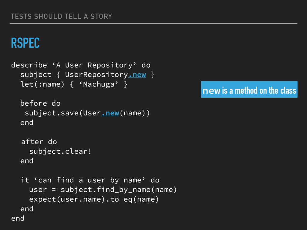 TESTS SHOULD TELL A STORY RSPEC describe 'A Use...