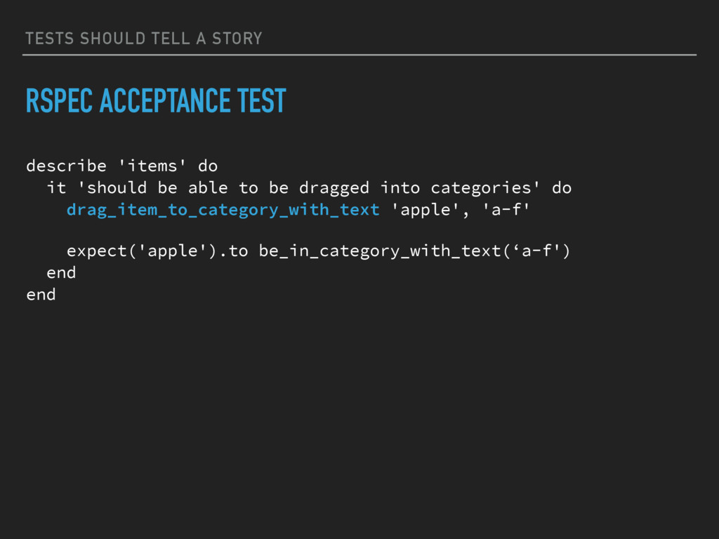 TESTS SHOULD TELL A STORY RSPEC ACCEPTANCE TEST...
