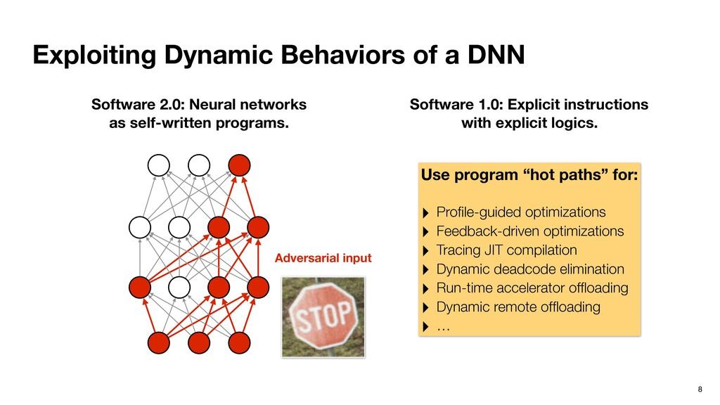 Exploiting Dynamic Behaviors of a DNN 8 Softwar...
