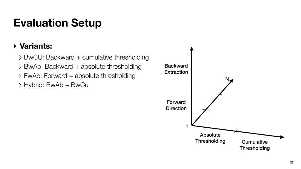 Evaluation Setup 27 ‣ Variants: ▹ BwCU: Backwar...