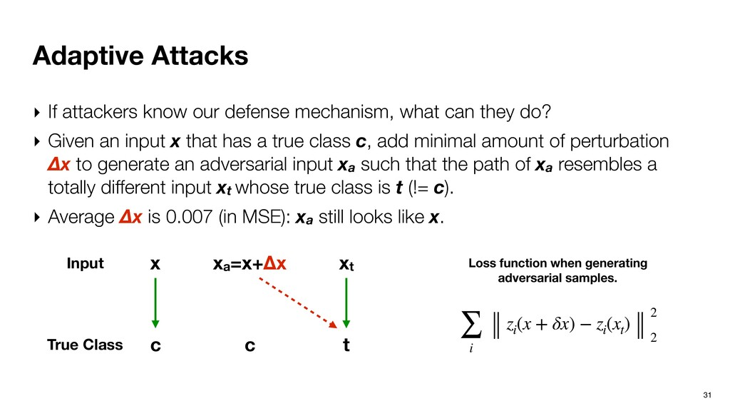 Adaptive Attacks 31 ‣ If attackers know our def...