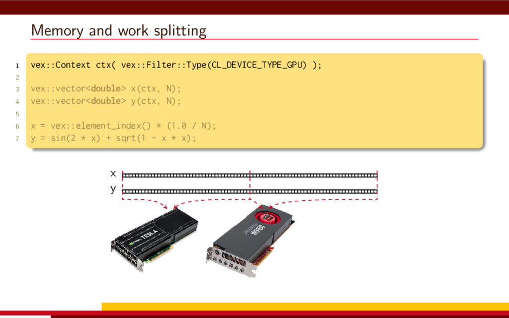 Memory and work splitting 1 vex::Context ctx( v...