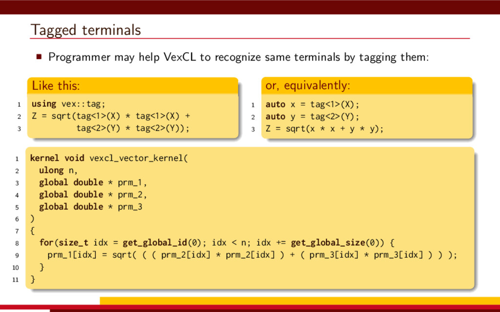 Tagged terminals Programmer may help VexCL to r...
