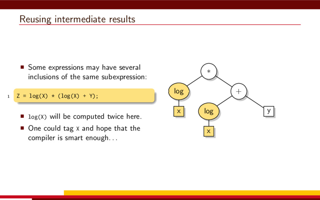 Reusing intermediate results Some expressions m...
