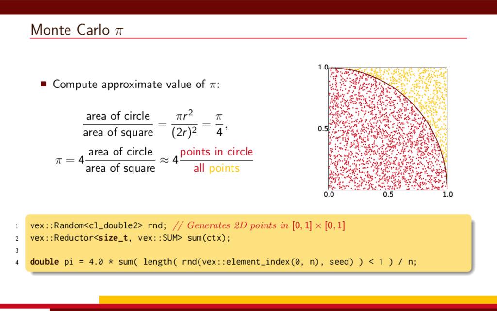 Monte Carlo π Compute approximate value of π: a...